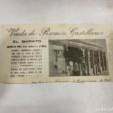 Documentos antiguos: MEMBRETE. VIUDA DE RAMÓN CASTELLANOS. EL BARATO. COMERCIO DE PANOS, ROPAS HECHAS. RIOSECO. Lote 257459590