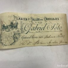 Documentos antiguos: MEMBRETE. GABRIEL SOTO. ALMACÉN Y TALLER DE CARRUAJES. MEDINA DE RIOSECO. Lote 257459670
