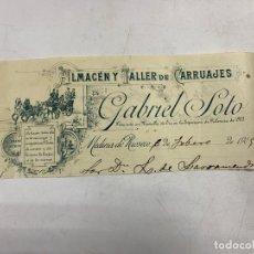 Documentos antiguos: MEMBRETE. GABRIEL SOTO. ALMACÉN Y TALLER DE CARRUAJES. MEDINA DE RIOSECO. Lote 257459710