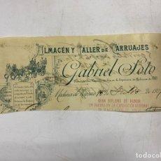 Documentos antiguos: MEMBRETE. GABRIEL SOTO. ALMACÉN Y TALLER DE CARRUAJES. MEDINA DE RIOSECO. Lote 257459800