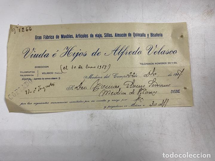 MEMBRETE. VIUDA E HIJOS DE ALFREDO VELASCO. FABRICA DE MUEBLES. MEDINA DEL CAMPO - VALLADOLID (Coleccionismo - Documentos - Otros documentos)