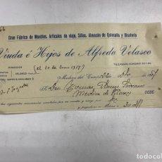 Documentos antiguos: MEMBRETE. VIUDA E HIJOS DE ALFREDO VELASCO. FABRICA DE MUEBLES. MEDINA DEL CAMPO - VALLADOLID. Lote 257460000