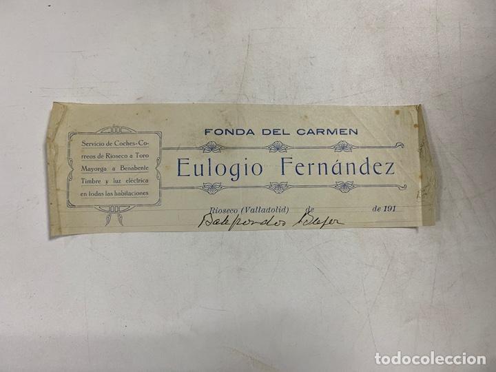 MEMBRETE. EULOGIO FERNÁNDEZ. FONDA DEL CARMEN.SERVICIO DE COCHES. RIOSECO - VALLADOLID. (Coleccionismo - Documentos - Otros documentos)