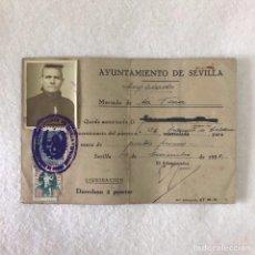 Documentos antiguos: DOCUMENTO. AYUNTAMIENTO DE SEVILLA. MERCADO DE LA FERIA. SELLO AUXILIO SOCIAL. Lote 258261440