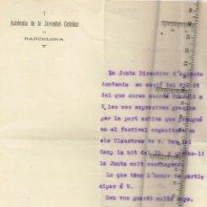 Documentos antiguos: 1915 ACADEMIA DE LA JUVENTUD CATÓLICA DE BARCELONA NOTA D´AGRAIMENT A D. AGUSTI VALLS I CASCANTE. Lote 258797920