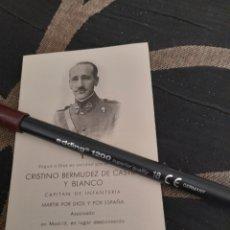 Documentos antiguos: RECORDATORIO FÚNEBRE DE CAPITÁN ASESINADO EN LA GUERRA CIVIL ESPAÑOLA. Lote 259269215