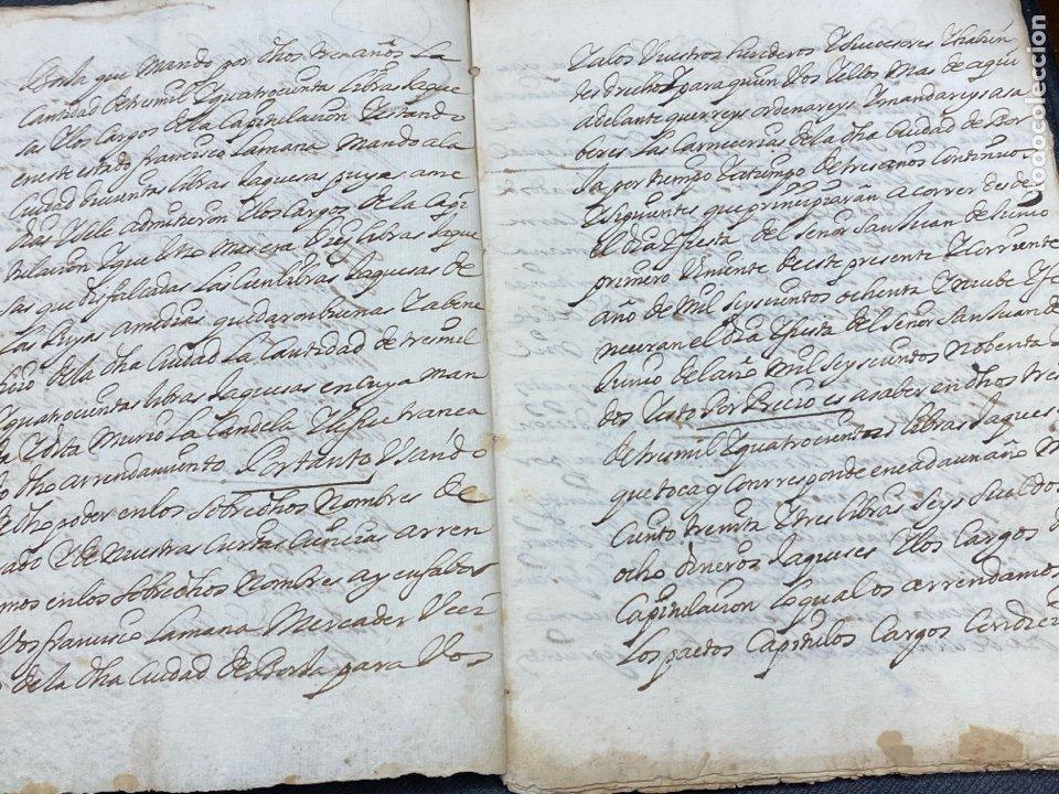 Documentos antiguos: 1689. CARNICERÍAS DE BORJA, ZARAGOZA. CAPITULACIONES Y ARRENDAMIENTO. FIRMA NOTARIAL. IMPORTANTE. - Foto 3 - 259296410