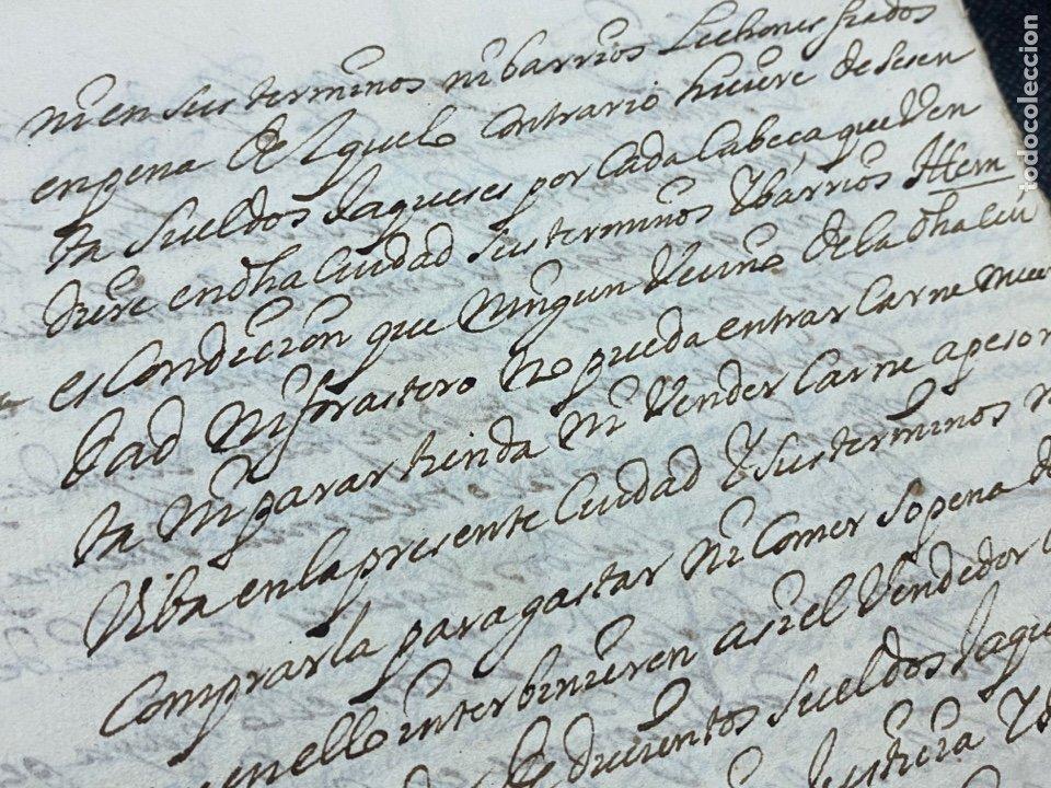 Documentos antiguos: 1689. CARNICERÍAS DE BORJA, ZARAGOZA. CAPITULACIONES Y ARRENDAMIENTO. FIRMA NOTARIAL. IMPORTANTE. - Foto 5 - 259296410
