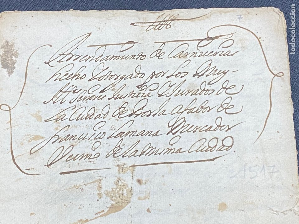 1689. CARNICERÍAS DE BORJA, ZARAGOZA. CAPITULACIONES Y ARRENDAMIENTO. FIRMA NOTARIAL. IMPORTANTE. (Coleccionismo - Documentos - Otros documentos)