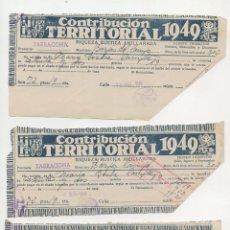 Documentos antiguos: LES BORGES DEL CAMP RECIBOS DE CONTRIBUCIÓN TERRITORIAL ( 1949,1950 Y 1951). Lote 259754295