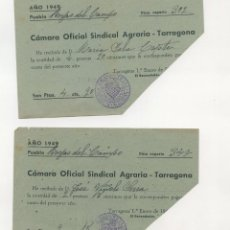 Documentos antiguos: LES BORGES DEL CAMP DIVERSOS RECIBOS MUNICIPALES (HERMANDAD SINDICAL, ETC.) (1949, 1950 Y 1951). Lote 259755495