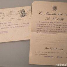 Documentos antigos: SOBRE+DOCUMENTO MINISTRO DEL AIRE JUAN VIGÓN SUERODIAZ, 1943, CUÑO DEL MINISTERIO. Lote 261163530