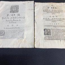 Documentos antiguos: CIRCA 1650. MARQUESA DE LA FLORESTA, BARONIA DE LA PLACA, MARQUES DE ESPACAFURNO. 2 ALEGACIONES.. Lote 261830285