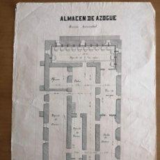 Documentos antiguos: MINAS DE ALMADÉN. PLANO DELINEADO. ALMACÉN DE AZOGUE AÑO 1900 Y PROYECCIONES 1892. 35,5X49,5CM.W. Lote 262045670