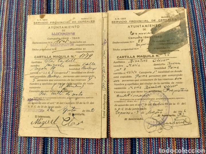DOS CARTILLAS MAQUILA TRIGO CEBADA 1942 43 ESPORLAS LLUCHMAYOR MALLORCA (Coleccionismo - Documentos - Otros documentos)
