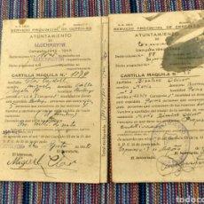 Documentos antiguos: DOS CARTILLAS MAQUILA TRIGO CEBADA 1942 43 ESPORLAS LLUCHMAYOR MALLORCA. Lote 262054340