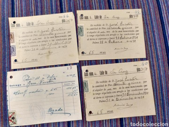 Documentos antiguos: DIEZ RECIBOS CON SELLOS FALANGE ETC GUERRA CIVIL 1936 A 1939 - Foto 3 - 262054660