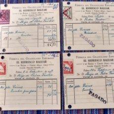 Documentos antiguos: CUATRO RECIBOS CON SELLOS PATRIÓTICOS FALANGE 1937 PALMA EL REFRESCO BALEAR 1937. Lote 262055110