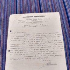 Documentos antiguos: AÑOS 40 LA ELECTRA PERFUMADA SÓLLER MALLORCA ALEJANDRO POMAR COLOM. Lote 262056330