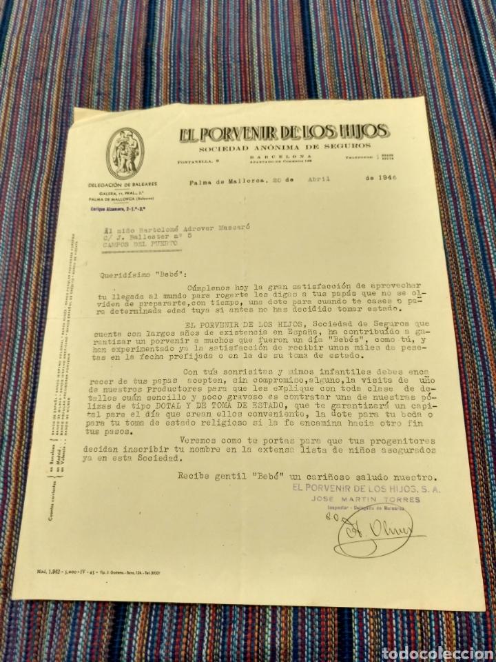 1946 EL PORVENIR DE LOS HIJOS SEGUROS AL BEBÉ BARTOLOMÉ ADROVER MASCARO CAMPOS DEL PUERTO MALLORCA (Coleccionismo - Documentos - Otros documentos)