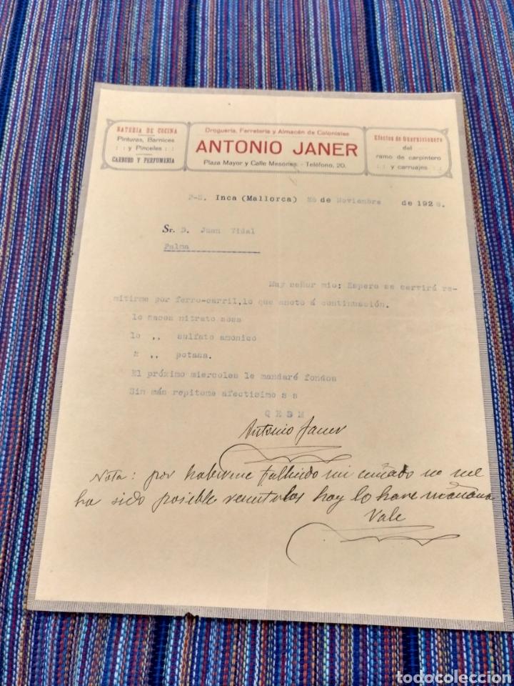 1926 Y 1928 INCA MALLORCA DROGUERÍA FERRETERÍA ANTONIO JANER (Coleccionismo - Documentos - Otros documentos)