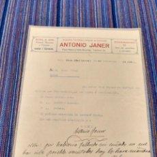Documentos antiguos: 1928 INCA MALLORCA DROGUERÍA FERRETERÍA ANTONIO JANER. Lote 262057530