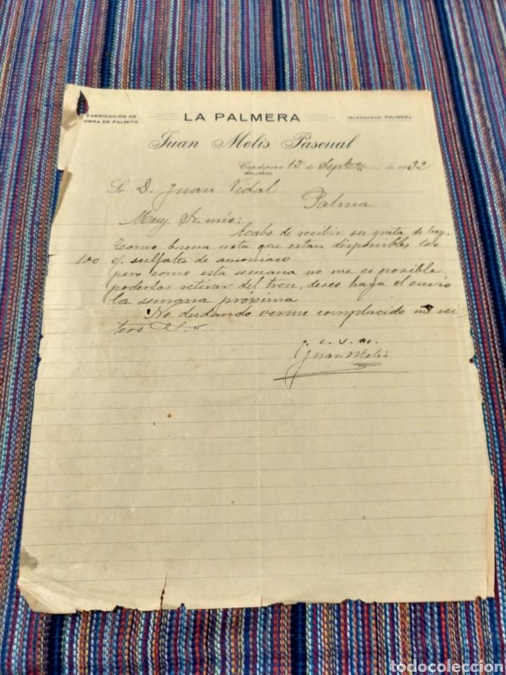AÑOS 30 CAPDEPERA MALLORCA LA PALMERA FABRICACIÓN DE OBRA DE PALMITO (Coleccionismo - Documentos - Otros documentos)