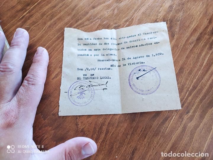 JML FALANGE ESPAÑOLA JONS FRANCO RECIBO ENTREGA A TESORERO DONATIVOS DELEGACION H.O. ALMERIA 1939 (Coleccionismo - Documentos - Otros documentos)