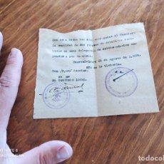 Documentos antiguos: JML FALANGE ESPAÑOLA JONS FRANCO RECIBO ENTREGA A TESORERO DONATIVOS DELEGACION H.O. ALMERIA 1939. Lote 262057975