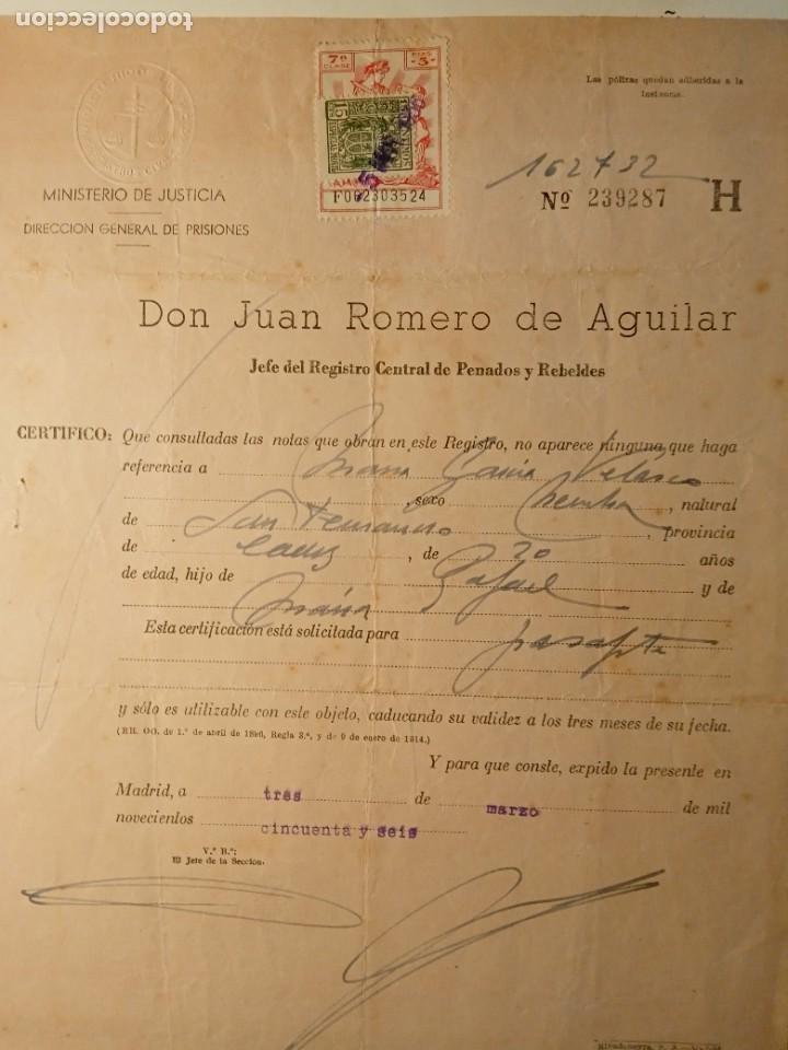 Documentos antiguos: TIMBROLOGÍA FISCAL serie 1940 -1946. SELLO clase 7-- 3 PESETAS +especial movil 15cts timbres - Foto 5 - 262059095