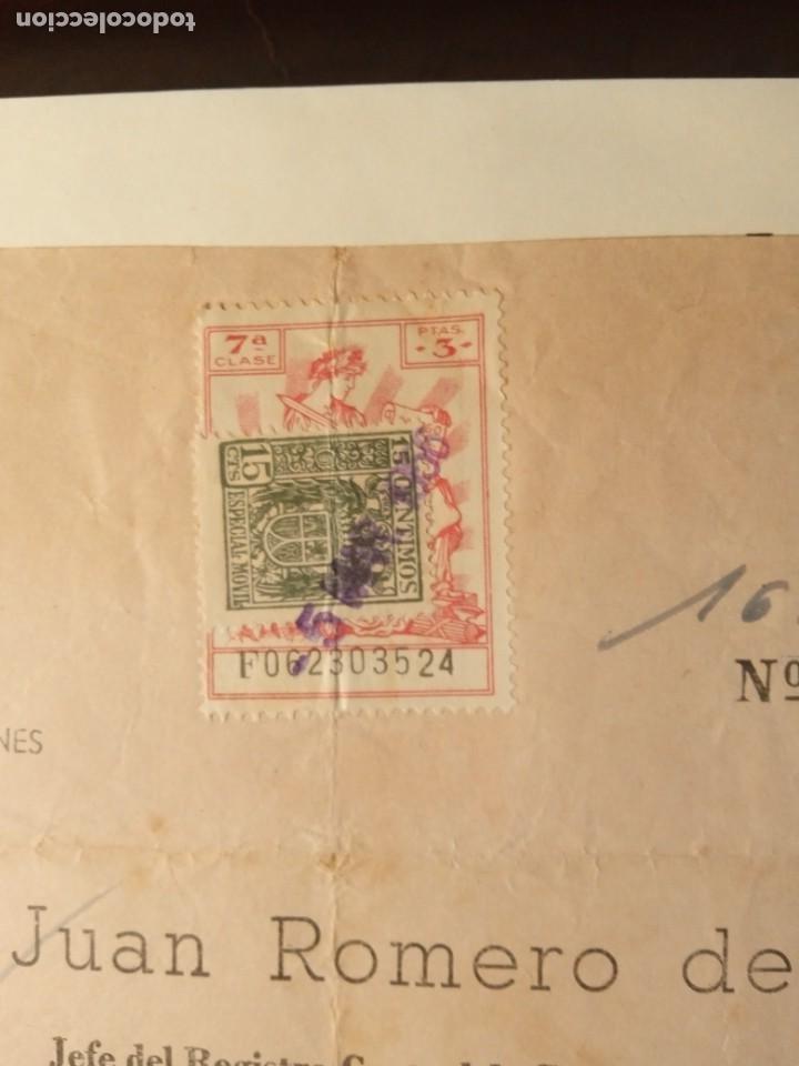 TIMBROLOGÍA FISCAL SERIE 1940 -1946. SELLO CLASE 7-- 3 PESETAS +ESPECIAL MOVIL 15CTS TIMBRES (Coleccionismo - Documentos - Otros documentos)