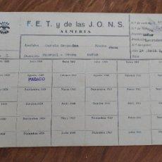 Documentos antiguos: JML DOCUMENTO PAGO CUOTA LABRADOR GOÑAR H.OVERA ALMERIA FET JONS FALANGE FRANCO 1939 VER FOTOS.. Lote 262059645