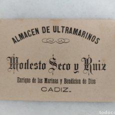 Documentos antiguos: ANTIGUA TARJETA PUBLICITARIA ALMACEN ULTRAMARINOS MODESTO SECO Y RUIZ CADIZ AÑO 1884. Lote 262240430
