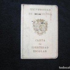 Documentos antiguos: UNIVERSIDAD DE BARCELONA-JUGADOR FC BARCELONA RUGBY-CARNET IDENTIDAD ESCOLAR-VER FOTOS-(80.441). Lote 262299455