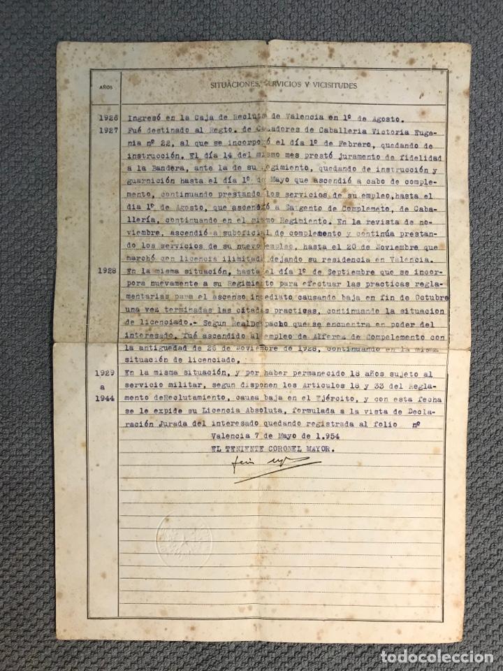 Documentos antiguos: MILITAR VALENCIA. Documento Licencia Absoluta. 3a. Región Militar (Mayo de 1954) - Foto 2 - 262303565