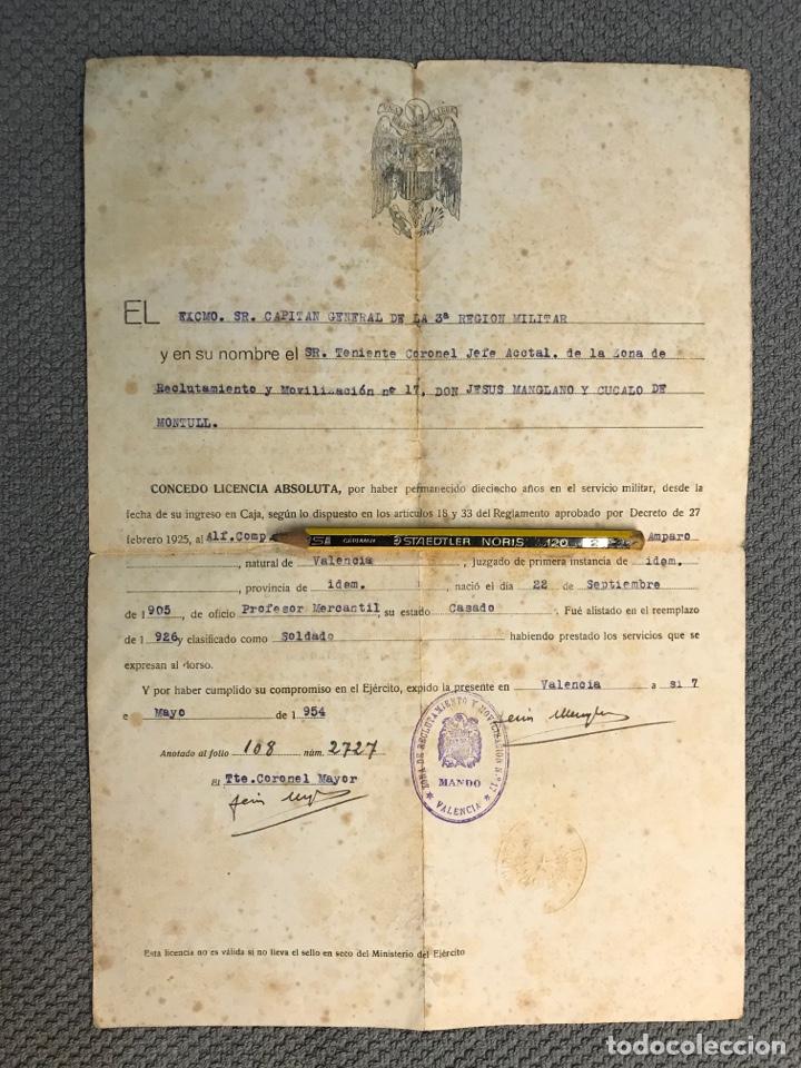 MILITAR VALENCIA. DOCUMENTO LICENCIA ABSOLUTA. 3A. REGIÓN MILITAR (MAYO DE 1954) (Coleccionismo - Documentos - Otros documentos)