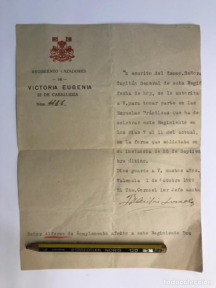 MILITAR. DOCUMENTO REGIMIENTO CAZADORES DE VICTORIA EUGENIA (OCTUBRE DE 1929) (Coleccionismo - Documentos - Otros documentos)