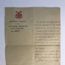 Documentos antiguos: MILITAR. DOCUMENTO REGIMIENTO CAZADORES DE VICTORIA EUGENIA (OCTUBRE DE 1929). Lote 262304865