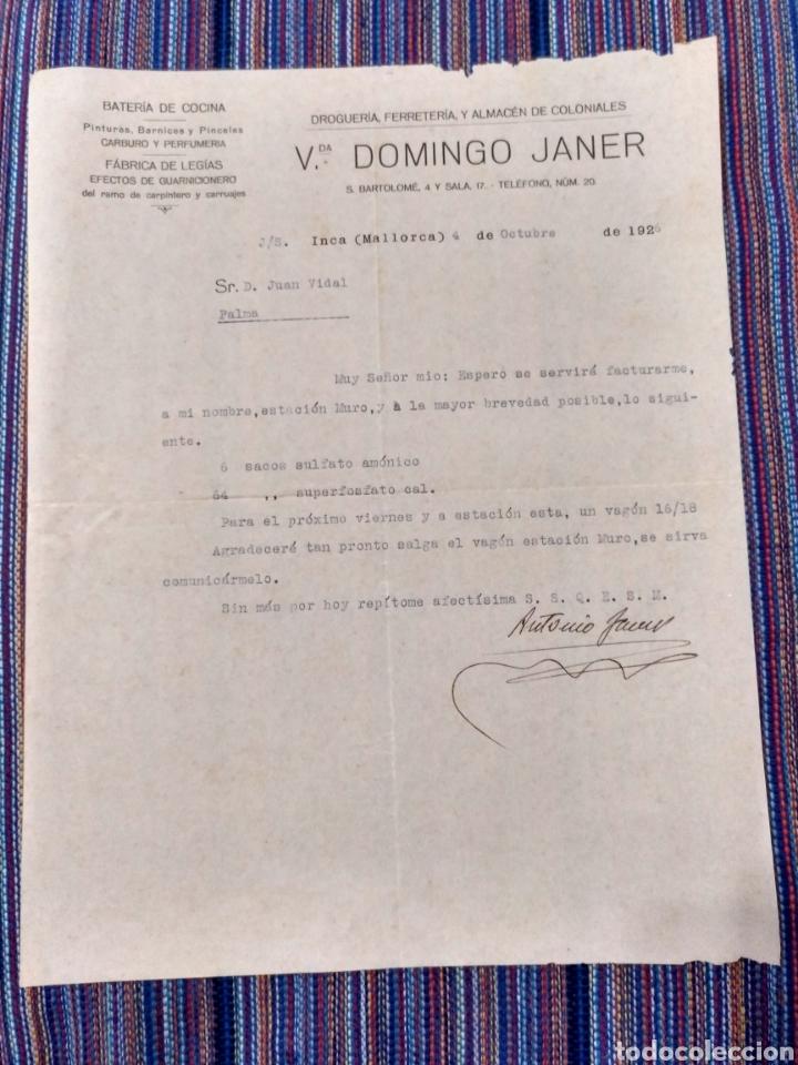 Documentos antiguos: 1926 Y 1928 INCA MALLORCA DROGUERÍA FERRETERÍA ANTONIO JANER - Foto 2 - 262057530