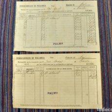 Documentos antiguos: 1928 Y 1929 DOS DOCUMENTOS FERROCARRILES DE MALLORCA PALMA. Lote 262382490