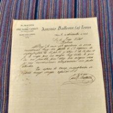 Documentos antiguos: 1926 DOCUMENTO MURO ANTONIO BALLESTER TORRES ALMACÉN ARROZ ALUBIAS CEREALES. Lote 262382805