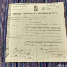 Documentos antiguos: 1891 CARTA DE PAGO PALMA MALLORCA BALEARES. Lote 262383170