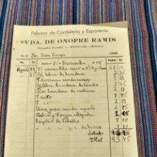 Documentos antiguos: FABRICA DE CORDELERÍA Y ESPARTERIA MANACOR VDA. ONOFRE RAMIS. Lote 262384120