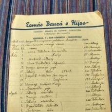 Documentos antiguos: SAN LORENZO MALLORCA TOMÁS BAUZA E HIJOS TORNERÍA ASERRAR CARPINTERÍA. Lote 262384345