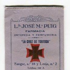 Documentos antiguos: TORTOSA FARMACIA JOSE M PUIG -LA CRUZ DE TORTOSA- ANTIGUA CARTERITA EN CARTON PORTA RECETAS. Lote 262703870