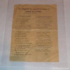 Documentos antiguos: ANTIGUO PLIEGO DE CORDEL O ROMANCE DE MERCADO. LA VENGANZA DE UNA JOVEN CONTRA EL LADRÓN DE SU HONRA. Lote 262863375