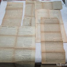 Documenti antichi: CRISTOBAL COLON DESCUBRIMIENTOS PATRIA - LOTE 6 RECORTES PRENSA HACIA 1920/22 - SU ORIGEN GALLEGO +. Lote 262973735
