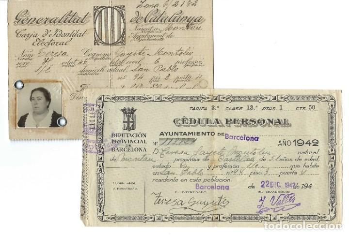 LOTE DE TARJETA ELECTORAL + CÉDULA PERSONAL AYUNTAMIENTO DE BARCELONA. GENERALITAT. (1935 Y 1942) (Coleccionismo - Documentos - Otros documentos)