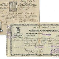 Documentos antiguos: LOTE DE TARJETA ELECTORAL + CÉDULA PERSONAL AYUNTAMIENTO DE BARCELONA. GENERALITAT. (1935 Y 1942). Lote 263189585