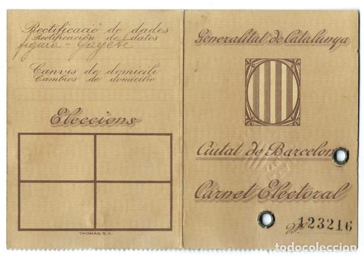 Documentos antiguos: LOTE DE TARJETA ELECTORAL + CÉDULA PERSONAL AYUNTAMIENTO DE BARCELONA. GENERALITAT. (1935 Y 1942) - Foto 2 - 263189585